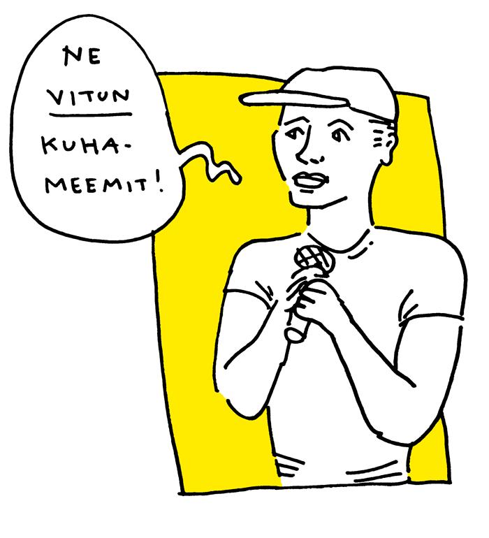 Reino Nordin feministinen kiroiluiltama aino sutinen sarjakuva livepiirros