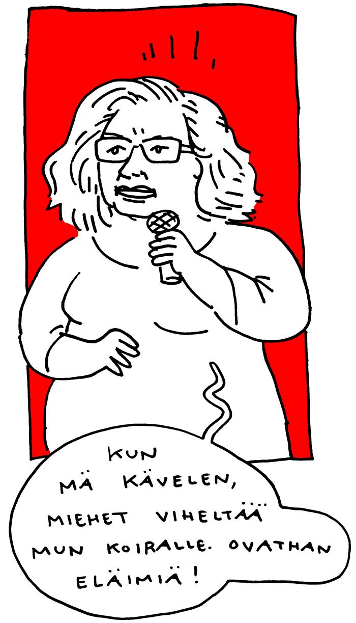 Irina Krohn feministinen kiroiluiltama aino sutinen sarjakuva livepiirros
