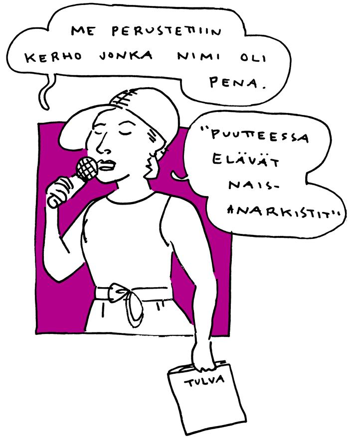 Terhi Toppala feministinen kiroiluiltama aino sutinen sarjakuva livepiirros
