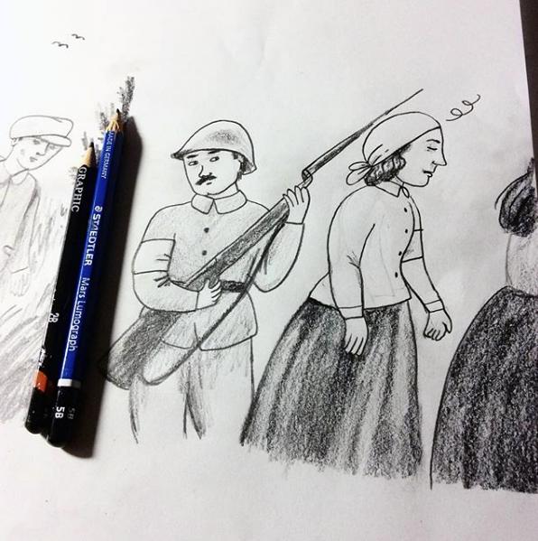 Sisaret 1918 aino sutinen web sarjakuva lyijykyna